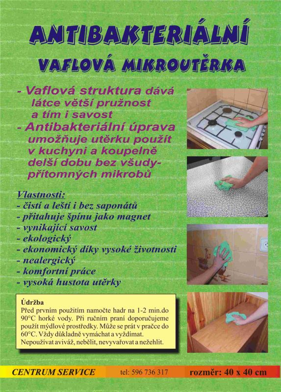 Vaflová antibakteriální mikroutěrka Centrum Service