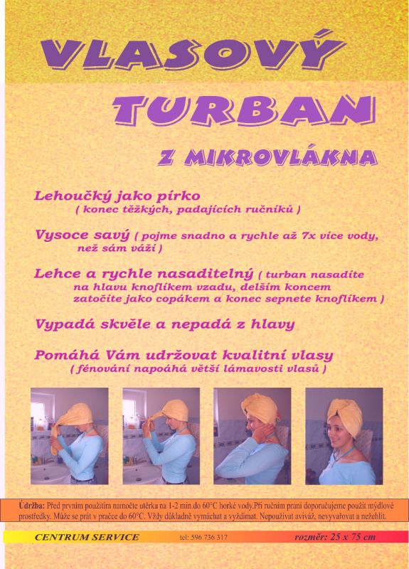 Vlasový turban z mikrovlákna výborně savý Centrum Service